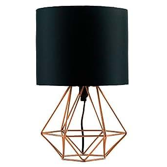 MiniSun Lampe de Chevet, Lampe de Table 'Angus' Aspect Rétro Pied - Cage Géométrique en effet Cuivre Brossé & Abat-Jour Tambour en Tissu Noir