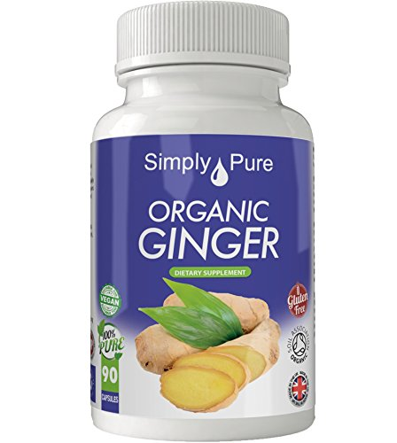 Organic Ginger 90x Capsules, 100% Natural Soil Association Certified, High Strength 600mg, Anti Nausea, Metabolic Function, Antioxidant, Gluten Free, Vegan, Exclusive to Amazon, Simply Pure, Moneyback Guarantee. Test