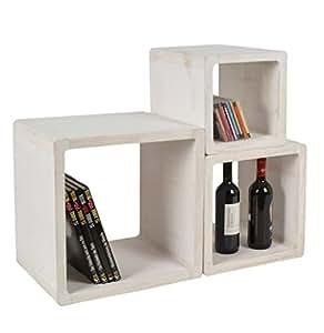 Set di 3 cubi da appoggio stile rustico shabby design for Cubi in legno arredamento