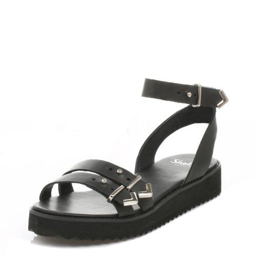 Shellys Donna Nero Portneuf sandali-UK 7