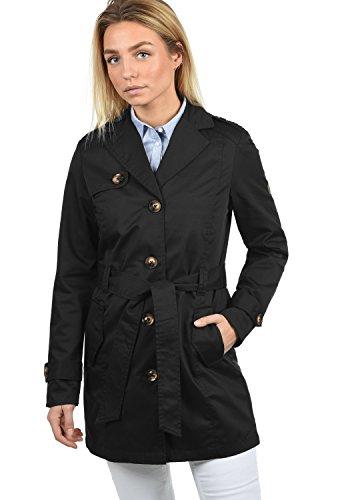 DESIRES Tessa Damen Trenchcoat Mantel Übergangsjacke mit Reverskragen und Gürtel, Größe:L, Farbe:Black (9000)