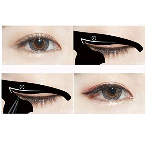 FORH Eyeliner Schablone 2 in 1 Form Eyeliner Lidschatten Guide Vorlage Katze Smokey Augen Make-up Schablone Werkzeug Lidschatten Applikatoren Schablone Professionelle Multifunktions (Schwarz)