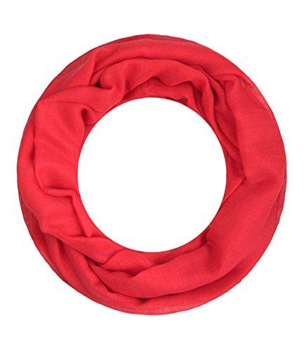 Majea Loop Alice schmaler Damen-Schal Loop Frühlingsschal Schlauchschal Rundschal Tuch uni unisex unifarben einfarbig Halstuch (rot)