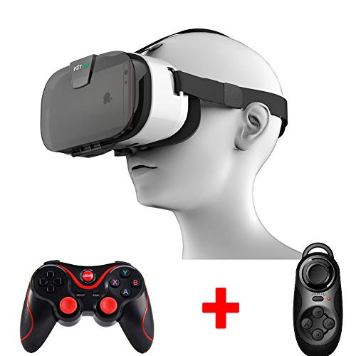 AUHRE VR 3D Brille mit Virtual Reality Kopfhörer VR Brille Geeignet für alle 4,0-6,5 Zoll Smartphones Inklusive Gamepad Video Fernbedienung Immersives Visuelles Erlebnis