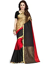 Ishin Poly Cotton Saree (Sawary-Tiptop_Red_A_Red & Black)