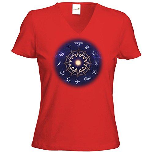 getshirts - Das Schwarze Auge - T-Shirt Damen V-Neck - Götter - Zwölfgötterkreis AGW Rot