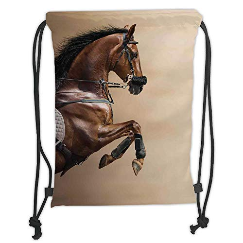 Trsdshorts Horses,Chestnut Color Horse Jumping in Hackamore Life Force Power Honor Love Sign Print,Brown Cream Soft Satin,5 Liter Capacity,Adjustable String Closure,