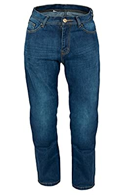 KB Mens Motorbike Motorcycle Blue Denim Trousers Jeans with Protective Lining