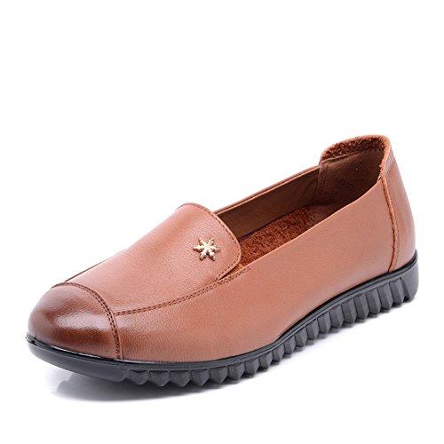mes chaussures de maman/Middle femmes et chaussures pour dames âgées vieux/ fond plat moyen age cuir chaussures fond mou B