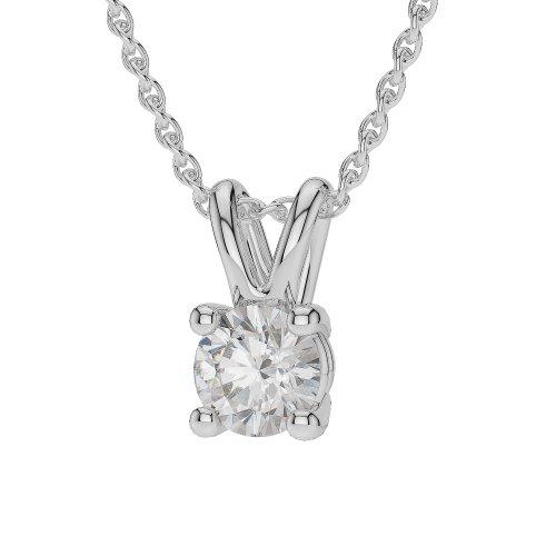 0.25CT G-H/VS sertie de diamants Forme ronde Solitaire Collier en platine 950Agdnc-1009