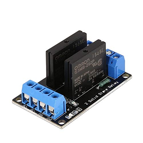 HoganeyVan 2 Channel Solid State Relay Module Board Low Level Trigger SSR Input 5V DC Output 240V AC 2A Fuse for Arduino PLC Controller -