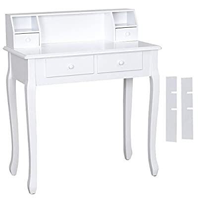 Songmics white 4 drawers Dressing Table Set for chic makeup vanity bedroom dresser writing table RDT80W - cheap UK dressing table shop.