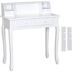 SONGMICS Coiffeuse, Table de Maquillage en Bois, avec 4 Tiroirs, 93 x 80 x 40 cm, Blanc RDT80W