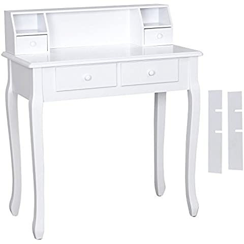 Songmics Tocador con 4 cajones mesa de maquillaje color blanco RDT80W