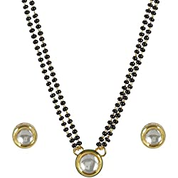 Muchmore White Metal Chain Mangalsutra & Earrings Jewellery Set For Women