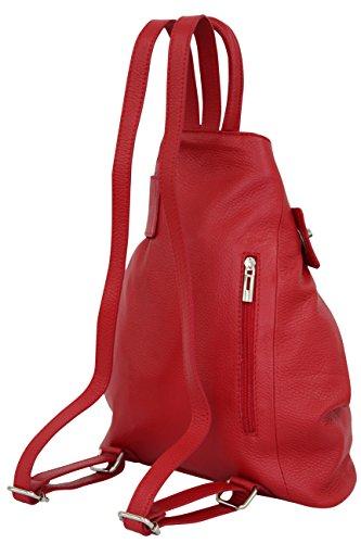 AMBRA Moda echt Leder Damenrucksack CityRucksack DayPack GL014 (Bordeaux) Rot