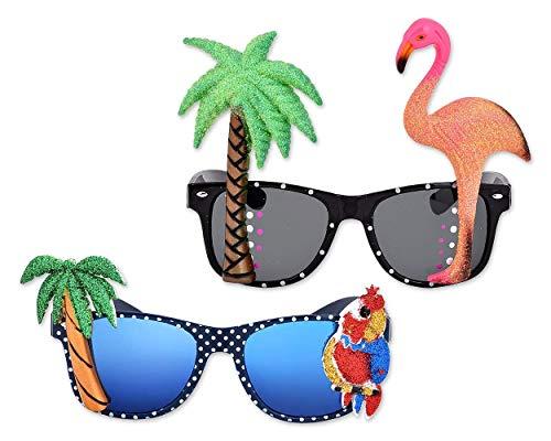 ds. distinctive style DSstyles 2 Pezzi novità Occhiali per Feste Compleanni, Occhiali da Sole Tropicale Hawaiana con Fenicottero Parrot Tree per Costumi Party