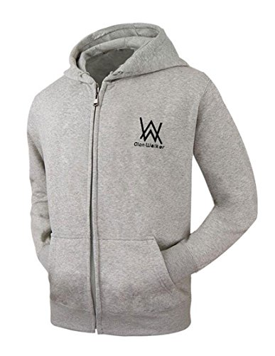 Scisu Frauen Graue Walker Hoodie Grafik Zipper Hoodies Fleece Baumwolle Hoody Sweatshirt XXL (Herren-walker Graue)