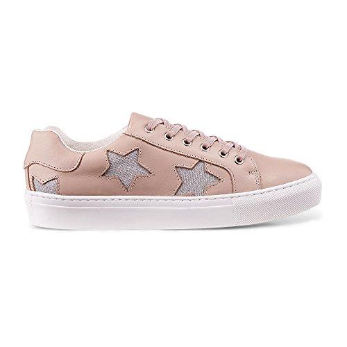 Cox Damen Damen Plateau-Schnürer, rosa Glattleder Sneaker mit Glitter-Elementen am Schaftrand Rosa Leder 39