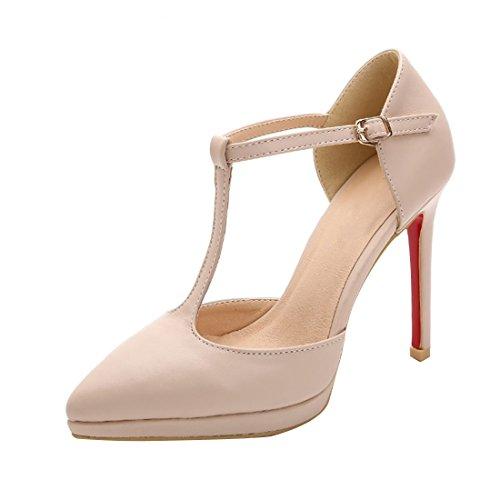 HooH Femmes T-Strap Boucle Platform Sandale Stiletto Escarpins Beige