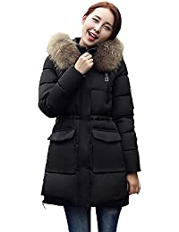 Eozy Lady Winter Long Down Cotton Jackets Thick Hooded Coats Outwear