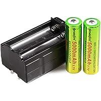 STRIR 2pcs 18650 Pilas recargables Li-Ion Batería Litio Recargable Baterías (5000mAh 3.7V 18650 Li - ion BRC bateria recargable para linterna LED antorcha & Cargador Carga para 2 Batería Pila Litio BRC 18650 bateria recargable, Integrado con el tablero de protección IC, evitando la sobrecarga y la descarga, la protección de sus linternas o faros LED