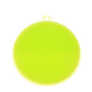 alkyoneus rund Silikon Gericht Waschen Schwamm reinigen Scrubber Pad Küche Werkzeug, Silikon, grün, Mid