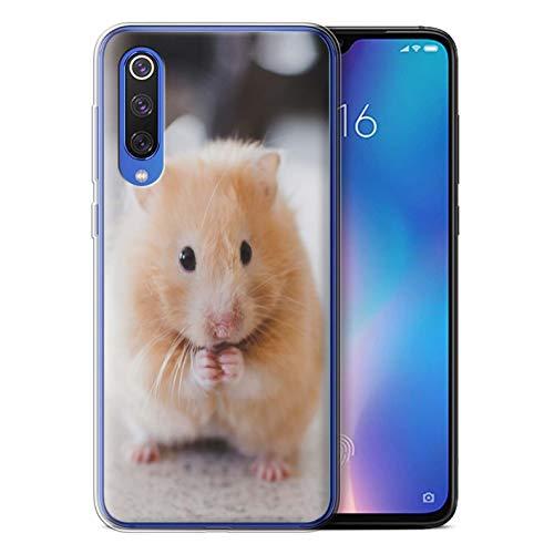 Phone Case for Xiaomi Mi 9 SE Cute Pet Animals Golden Hamster Design Transparent Clear Ultra Soft Flexi Silicone Gel/TPU Bumper Cover