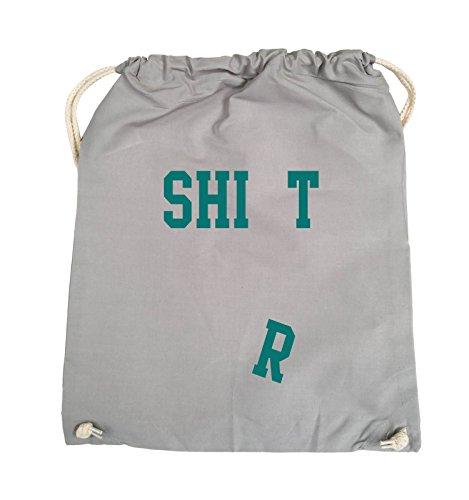 Comedy Bags - SHIRT - FALLENDES R - Turnbeutel - 37x46cm - Farbe: Schwarz / Silber Hellgrau / Tuerkis