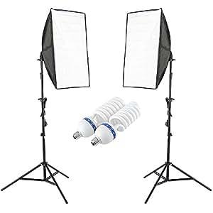 PMS 50x70cm Softbox 80W 5500K Photographique Boîte à lumière Pied d'éclairage Studio Photo Revêtement Blanc Kit Complet Comprenant 2 E27 Lampe, 2 Softbox pour des Effets d'éclairage Doux, Youtube Video