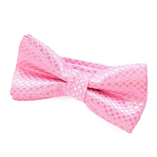DonDon pajarita noble para niños chico - combinada y ajustable 9x 4,5 cm - de color rosa - brillada con argénteo puntos