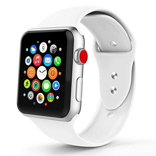 Iyou für Apple Watch Armband 38mm/42mm, Weiches Silikon Ersatzarmband Classic Sportarmband für iWatch Apple Watch Series 3/2/1, Edition, Nike + (38MM S/M, Weiß)