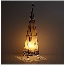 Marrakesch - Lámpara de pie (piel, 100 cm de altura, pintada a mano), diseño oriental, color blanco