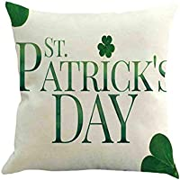 DIPOLA Happy St. Patricks Day Funda de Cojín,Almoada Decorativo Primavera Verde Hojas Decoración