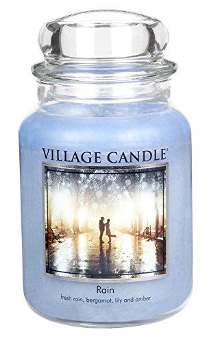 Village Candle 106326811 Regen große Duftkerze im Glas, 737 g, Blau, 10,4 x 10,1 cm