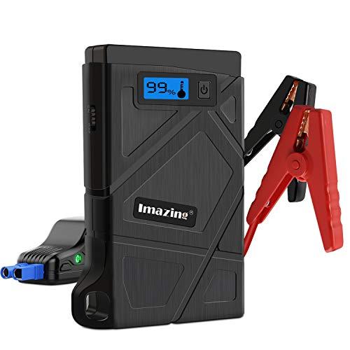 Imazing Booster Batterie,600A 8000mAh Portable Jump Starter, Démarrage de Voiture (Jusqu'à 3.5L Essence 2.0L Gazole), Alimentation Eléctrique d'Urgence pour Voiture avec Lamp LED, Deux Port de...