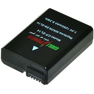 ChiliPower EN-EL14, EN-EL14a 1250mAh Batterie pour Nikon Coolpix P7000, P7100, P7700, P7800, DSLR D3100, D3200, D5100, D5200, D5300, Nikon Df