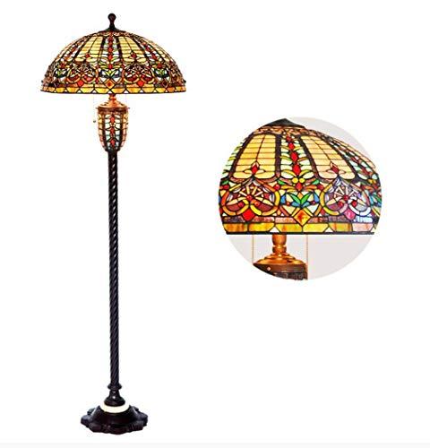 Yd&hLampadaire De Style Tiffany Vitrail Fait Main 22 pouces Lampadaires Avec Base En Métal Baroque Classique Éclairage Debout Pour Le Salon Chambre Etude