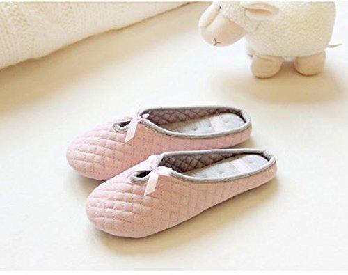 HH Pantoufles maison de pantoufles maison de pantoufles muet maison respirant de le coton hiver Pink