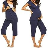 2516129f42 Unibelle Stillpyjama-Schlafanzug-Umstandspyjama für Damen, Leichte  Nachtwäsche für Frühling-Sommer Navyblau S