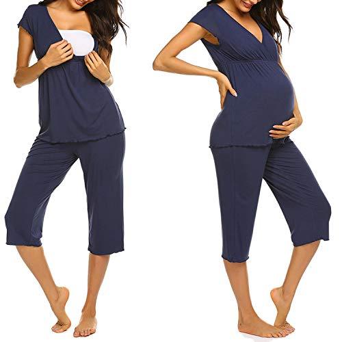 Unibelle Damen Stillpyjama-Umstandspyjama-Schlafanzug Zweiteilig Hausanzug Pyjamas Kurzen Ärmeln Lang Hosen mit Stillfunktion Navyblau XXL