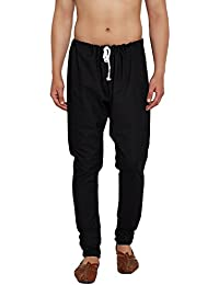 Sojanya Men's Pure Cotton Churidaar Pyjama, Free Size(Black, Rep-SJR-Pyjama-005)