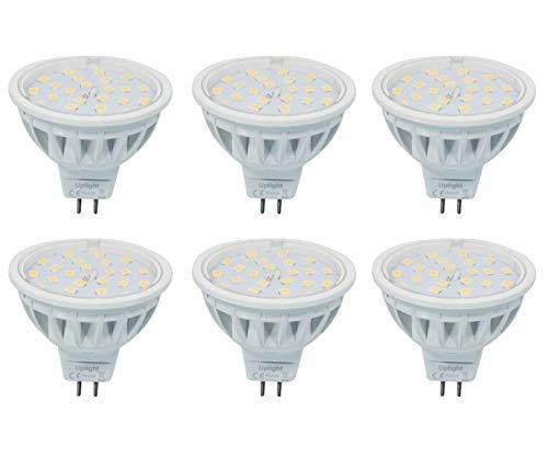 Ersetzt 60W Halogen lampe(Die zweite Generation) MR16 LED Lampen Gu5.3 Strahler 6000K kaltweiß 600LM AC/DC12V,6er Pack.