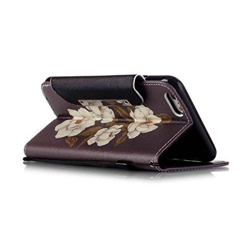 Owbb Filp PU Housse Coque Étui avec magnetic buckle protection pour iPhone 6 Plus / 6S Plus (5.5 pouces) Smartphone -fleur blanc Color 02