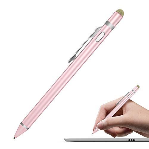 MoKo Universal Activer Stylus Stift - Aluminium 2 in 1 Hoch Präzis 1.5mm Touchstift Eingabestift mit integriertem Akku geeignet für Apple (iPhone 8, iPad), Tablets, Smarphones, Rose Golden -