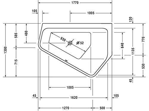 Duravit Badewanne Paiova 5 1770x1300mm Ecke rechts, mit Acrylverkleidung, weiß, 700395000000000