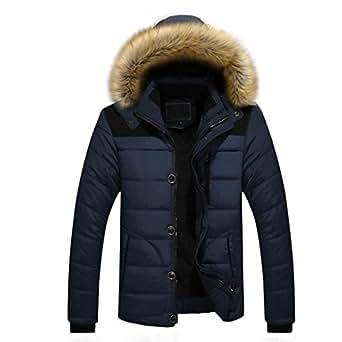 Doudoune en Coton, Internet Homme Hiver Chaud Manteau Plus épais Veste à Capuche (XS, Bleu)