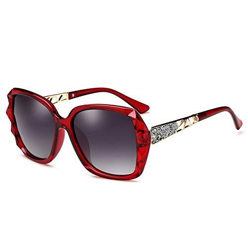Polarisierte Sonnenbrille Weibliches Großes Gesicht Rundes Gesicht Anti-UV-Sonnenbrille Mit Großem Gestell, Kann Zum Dekorieren Von Brillen Zum Fahren Auf Reisen Verwendet Werden. ( Color : Wine red )
