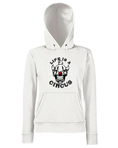 T-Shirtshock - Sweats a capuche Femme T0262 Life is a circus fun cool geek Blanc