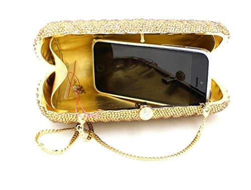 Abendbeutel der europäischen und amerikanischen Art handgemachter Diamant-Handtasche Messenger Bag Gold Box Gold Gold